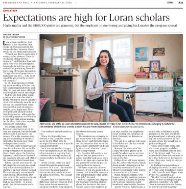 Globe and Mail - Expectations are high for Loran Scholars - Feb 2016